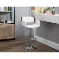Porthos Home Alber Adjustable Bar Stool, 360° Swivel, PU Leather