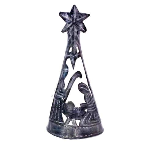 Handmade Christmas Tree with Nativity --Tree Topper (7 inch) (Haiti)