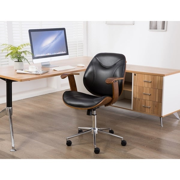 Porthos Home Flynn Adjustable Office Chair, PU Leather Upholstery