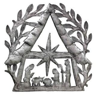 "Handmade Nativity Scene with Branches Metal Wall Art (11"" x 11"") (Haiti)"