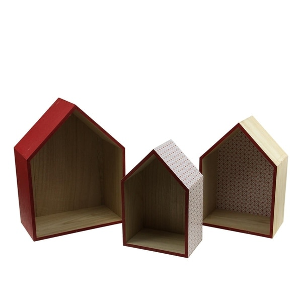 """Set of 3 Basic Luxury Shadow Boxes with Rose Red Accents 11.5 - 15.5"""""""