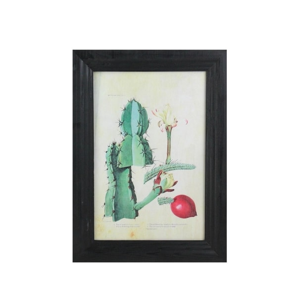 "14"" x 10.25"" Green and Red Decorative Cactus Art with Black Photo Frame"
