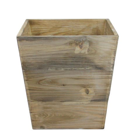 """13.75"""" Country Rustic Natural Wood Storage Bin Container"""