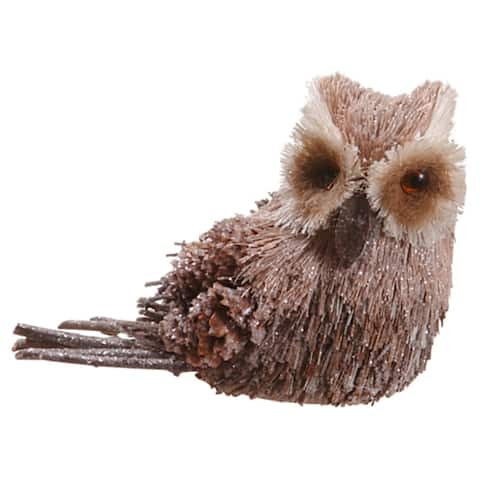 """6"""" Modern Lodge Glitter Frosted Sisal and Pine Cone Brown Owl Christmas Figure"""
