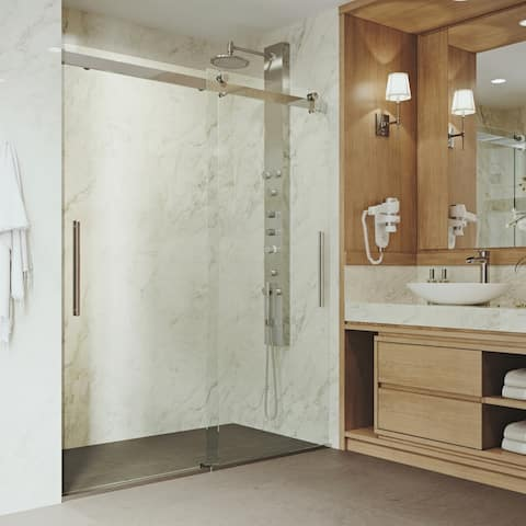 VIGO Caspian Clear Adjustable Frameless Sliding Shower Door