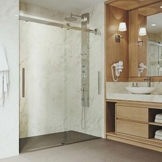 VIGO Caspian Stainless Steel Adjustable Frameless Sliding Shower Door