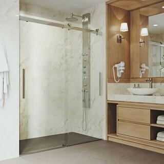 VIGO Caspian Clear Adjustable Frameless Sliding Shower Door