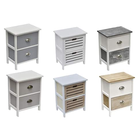 Evideco Small Side Table Nightstand End Table Coffee Table with Handles -2 drawers