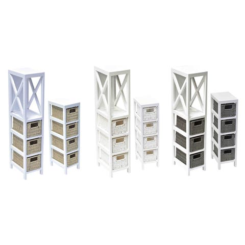 Evideco 3 or 4 Tiers Storage Unit Wood - Weaved Paper Rope
