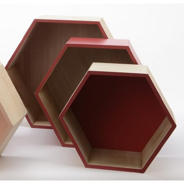 """Set of 3 Basic Luxury Hexagonal Shadow Boxes with Rose Red Accents 11.5 - 15.5"""""""
