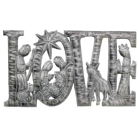 """Handmade Love Metal Art with Nativity Scene - 9"""" x 14"""" (Haiti)"""