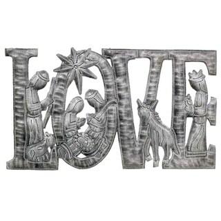 """Handmade LOVE Metal Art with Nativity Scene (9"""" x 14"""") (Haiti)"""