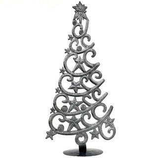 "Handmade Tabletop Christmas Tree with Stars (14"" Tall) (Haiti)"