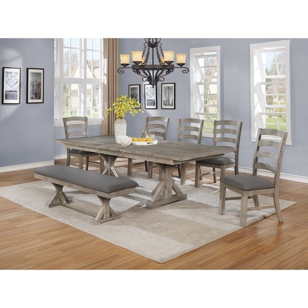 Shop Best Quality Furniture Rustic Grey Trestle 7-piece
