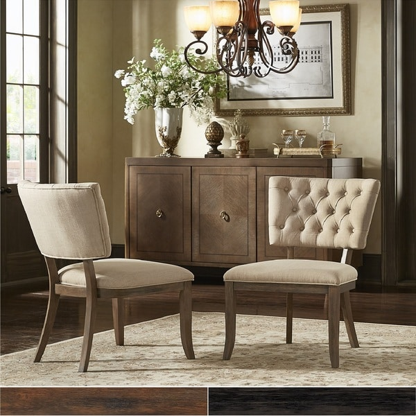 Luxe Linen Upholstered Tufted Dining Armchair: Shop Rowland Beige Linen Tufted Dining Chairs (Set Of 2
