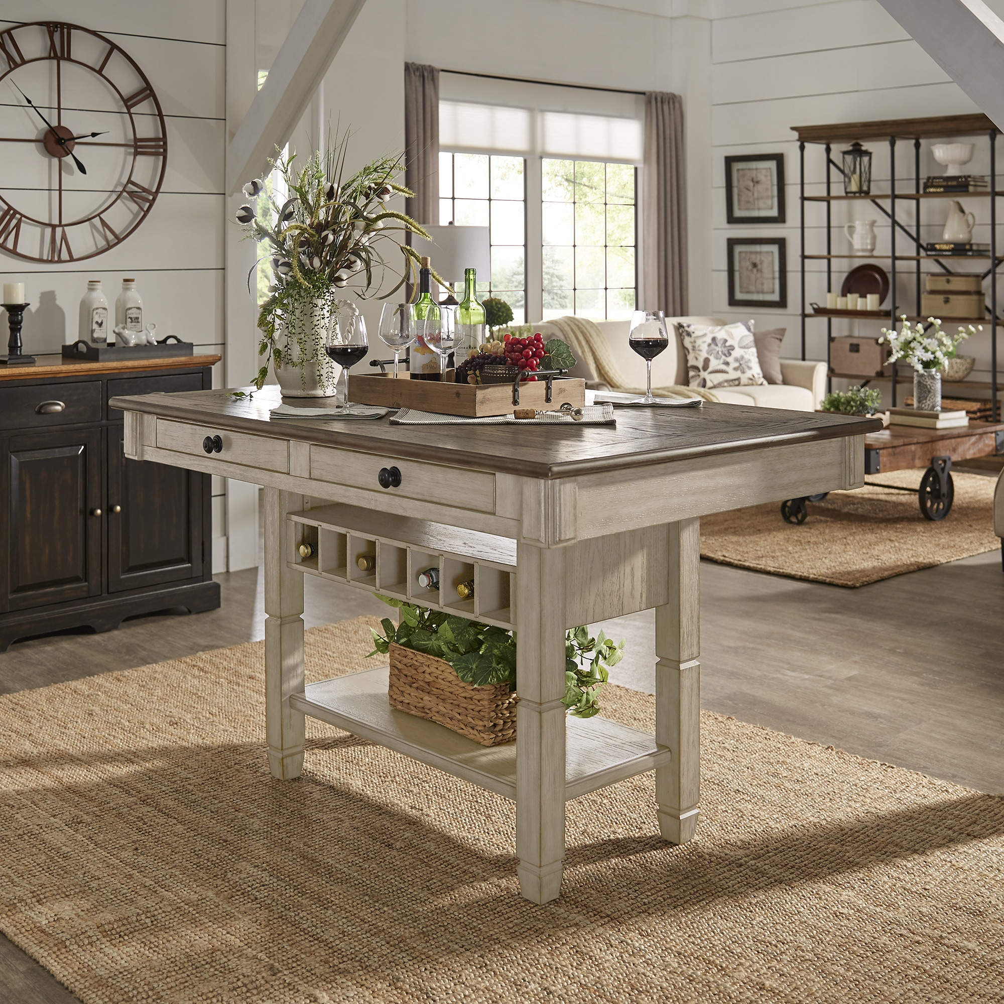 Martine Two-tone Rectangle Drawer and Storage Counter Height Dining Table  by iNSPIRE Q Classic