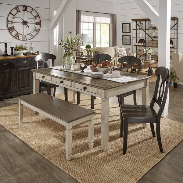 be969d65f5 Martine Two-tone Rectangle 6-Piece Dining Set with Drawers by iNSPIRE Q  Classic