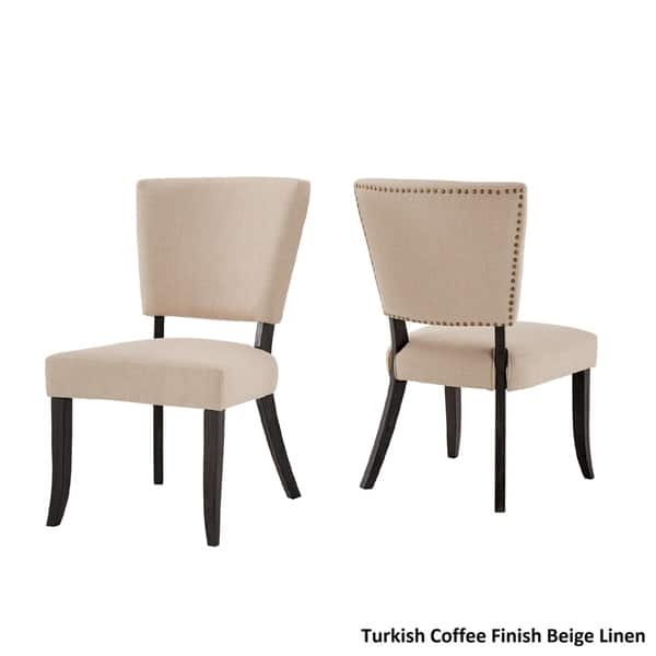 Surprising Shop Rawlings Beige Linen Nailhead Dining Chairs Set Of 2 Bralicious Painted Fabric Chair Ideas Braliciousco