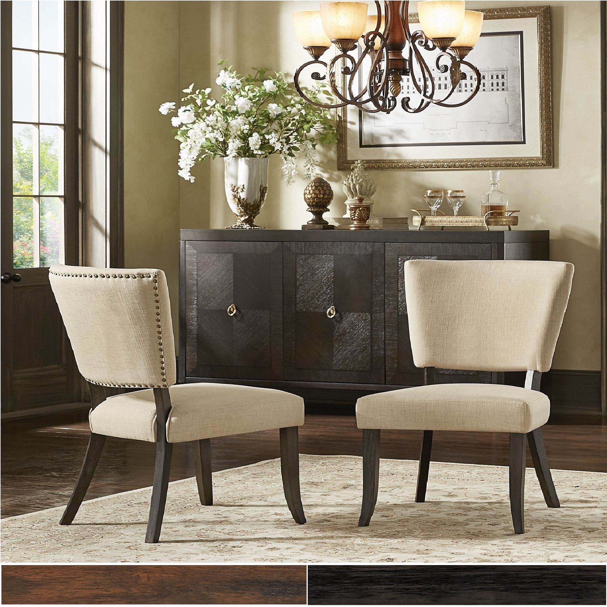 Strange Rawlings Beige Linen Nailhead Dining Chairs Set Of 2 By Inspire Q Artisan Bralicious Painted Fabric Chair Ideas Braliciousco