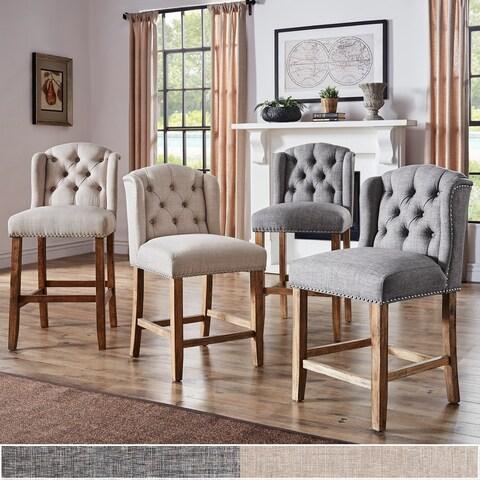 The Gray Barn Larken Tufted Linen Upholstered Stool (Set of 2) - N/A