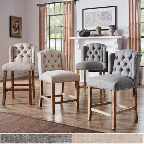 The Gray Barn Larken Tufted Linen Upholstered Stool (Set of 2)