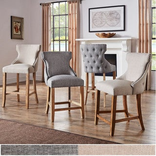 Lianna Nailhead Trim Linen Upholstered Bar Stools with Back (Set of 2) by iNSPIRE Q Artisan