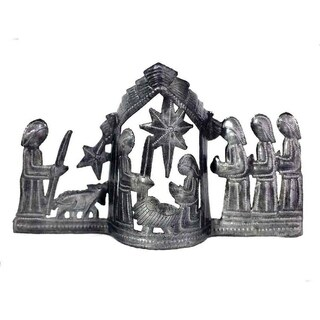 "Handmade Large Tabletop Nativity Scene (13"" x 7"") (Haiti)"
