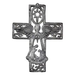 "Handmade Metal Cross with Angel and Nativity Scene (10"" x 14"") (Haiti)"
