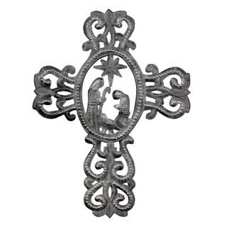 """Handmade Metal Cross with Nativity Scene (10"""" x 14"""") (Haiti)"""