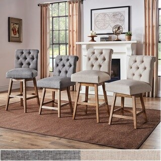 Clay Tufted Linen Upholstered Swivel Bar Stools with Back (Set of 2) by iNSPIRE Q Artisan