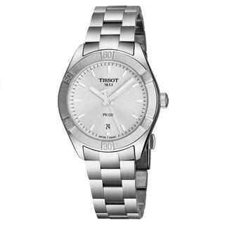 Tissot Women's T101.910.11.031.00 'PR 100' Silver Dial Stainless Steel Swiss Quartz Watch