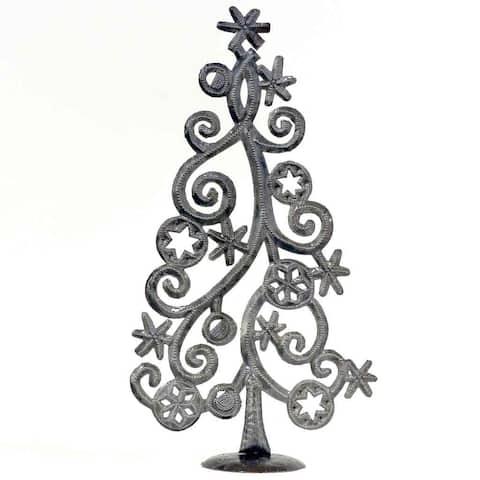 "Handmade Tabletop Christmas Tree with Stars and Snowflakes, Metal Art (14"" x 7.5"") (Haiti)"