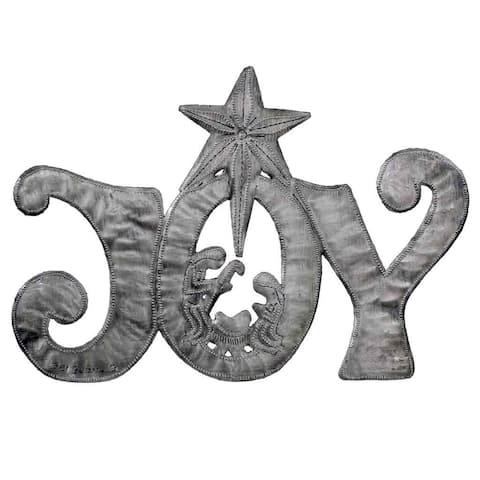 "Handmade Joy Metal Art with Nativity Scene - 11"" x 8"" (Haiti)"