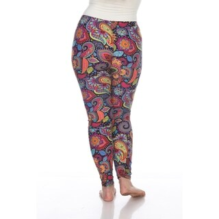 White Mark Women's Plus Size Printed Leggings