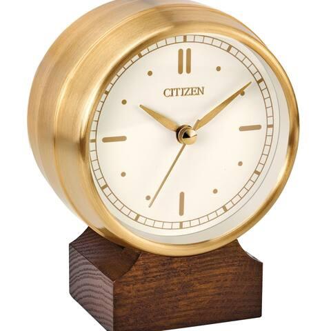 Citizen Workplace Goldtone/Brown Metal/Wood Clock