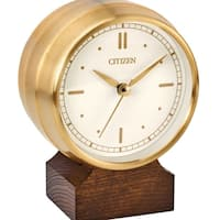 Citizen Workplace Goldtone/Brown Metal/Wood Clock