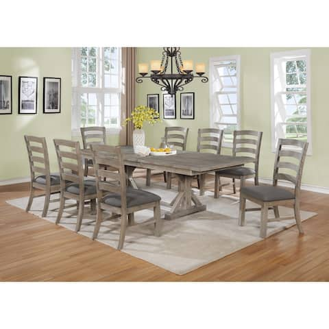 Best Quality Furniture Rustic Grey Trestle 9-piece Dining Set