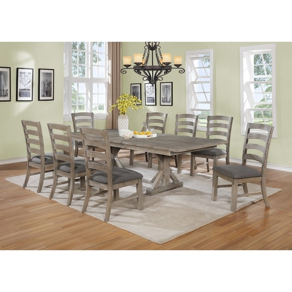 Shop Best Quality Furniture Rustic Grey Trestle 9-piece