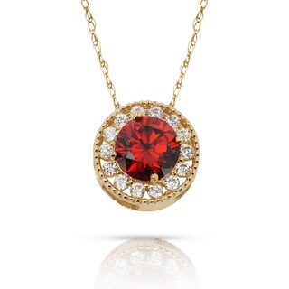 Curata 14k Yellow Gold 16-inch Birthstone Round Cubic Zirconia Halo Floating Pendant Necklace (8mm x 8mm)