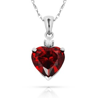 Curata 14k White Gold 16-inch Birthstone Heart-Shaped Cubic Zirconia Pendant Necklace (8mm x 15mm)