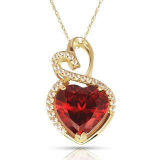 Curata 14k Yellow Gold 16-inch Birthstone Modern Double Heart Cubic Zirconia Pendant Necklace (12mm x 23mm)