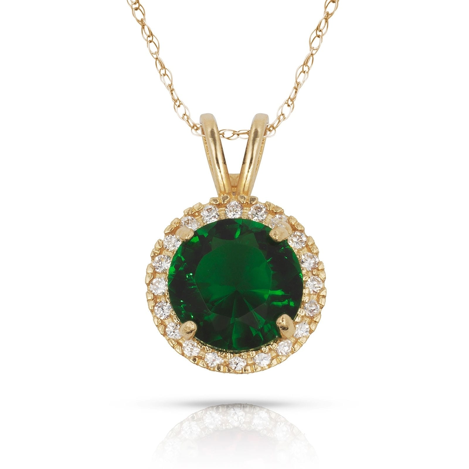 14K White Gold Necklace with Round Green Cubic Zirconia 18 Inches