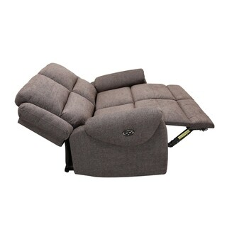 Transitional Grey Fabric Upholstered Power Recline Loveseat