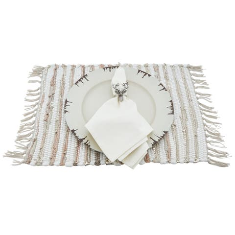 16 Piece Holiday Table Setting Bundle With Reindeer or Acorn Napkin Rings, Chindi Placemats And Distressed Charger Plates