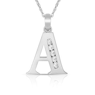 Curata 14k White Gold 16-Inch Small Channel-set (A-Z) Cubic Zirconia Initial Pendant Necklace (7mm x 14mm)