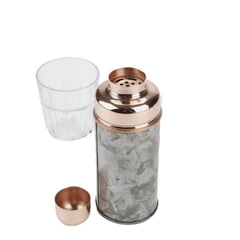Mind Reader Stylish Martini Shaker For Home, Bar, 18 Oz, Metal, Silver / Copper