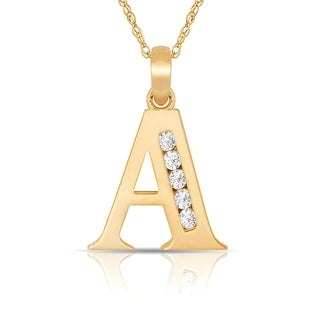 Curata 14k Yellow Gold 16-Inch Small Channel-set (A-Z) Cubic Zirconia Initial Pendant Necklace (7mm x 14mm)