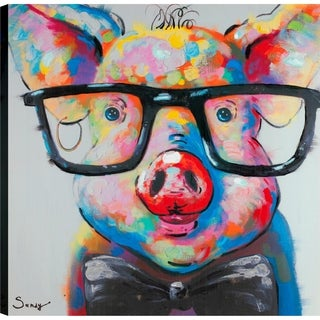 'Pig I' Canvas Print 24-inch x 24-inch Ready-to-hang Wall Art