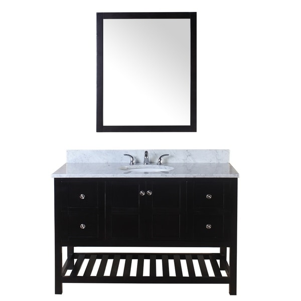 Home Elements Palmdale Espresso Wood 49 Inch Bathroom Vanity With Marble Top
