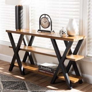 Industrial Wood and Metal Console Table by Baxton Studio
